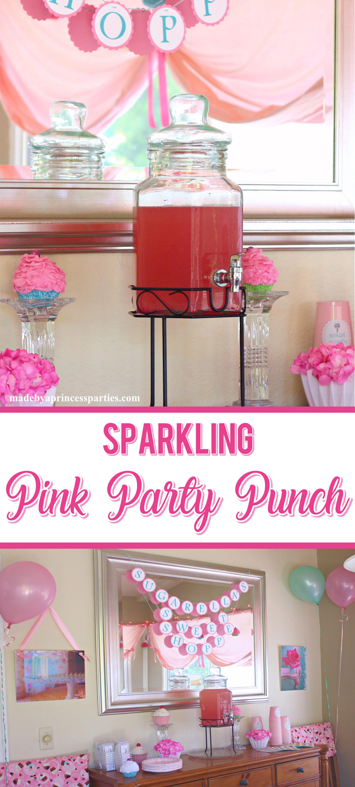 This perfectly pink punch is so delicious and pretty! It's the perfect punch to serve at tea parties. baby showers, bridal showers, and birthday parties. Want to make it extra sparkly? Add some champagne!