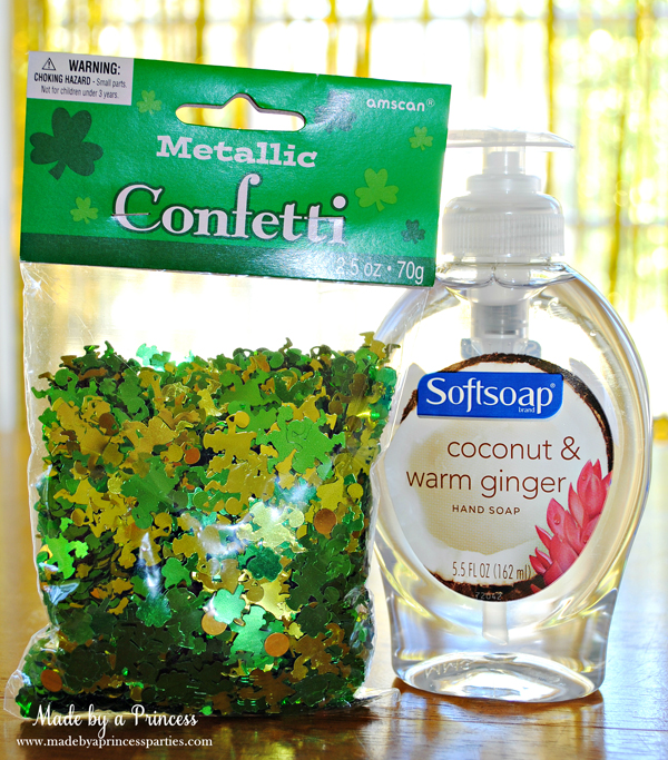 DIY Confetti Soap all you need is a package of confetti and bottle of soap from dollar store