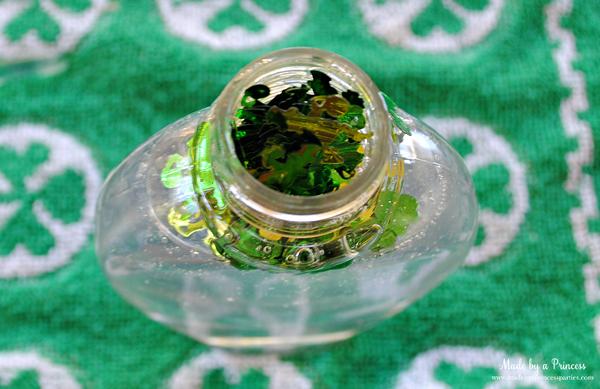 DIY Confetti Soap pour confetti into soap bottle