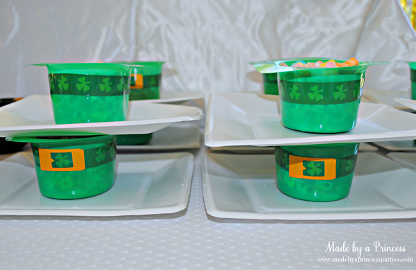 Kids St Patricks Day Party Ideas Lucky Charm cereal in leprechaun hat bowls