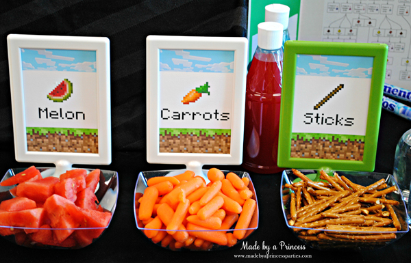 Ultimate Minecraft Birthday Party Food melon.carrots.sticks #minecraft #minecraftparty #minecraftbirthday #bestboyparty
