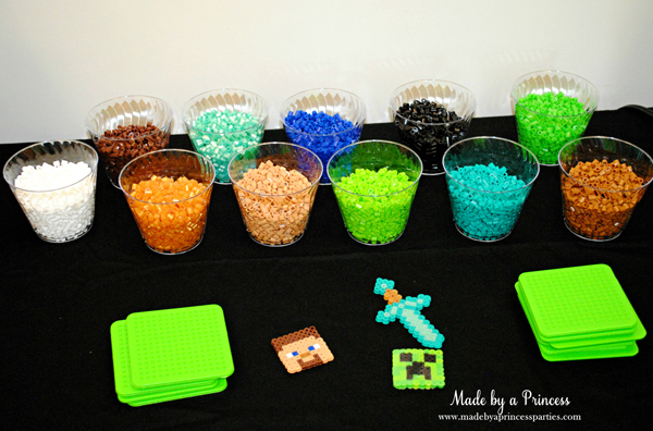 Ultimate Minecraft Birthday Party Perler bead station #minecraft #minecraftparty #minecraftbirthday #bestboyparty