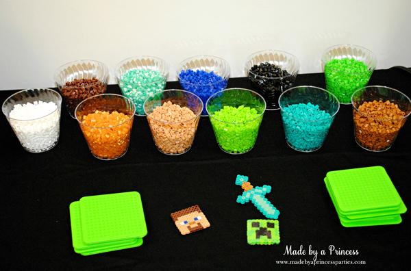 Ultimate Minecraft Birthday Party Perler bead station #minecraft #minecraftparty #minecraftbirthday #bestboyparty