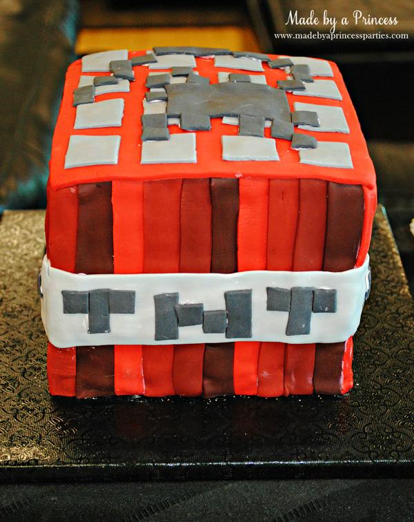 Ultimate Minecraft Birthday Party TNT birthday cake made with fondant #minecraft #minecraftparty #minecraftbirthday