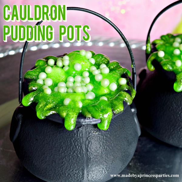 Cauldron Pudding Pots with sparkly green icing is just what you need this Halloween #halloweenparty #halloweentreats #halloweenfood @madebyaprincess