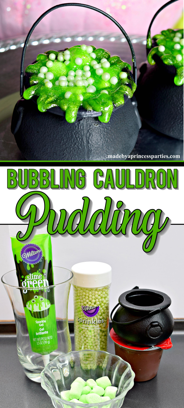 Hosting a witch themed party. Bubbling witch cauldron pudding pots are the perfect Halloween Witch Party Food #halloweenpartyfood #witchpartyfood