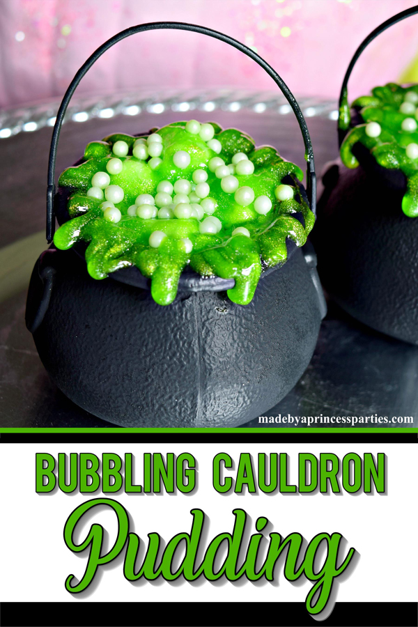 Hosting a witch themed party. Bubbling witch cauldron pudding pots are the perfect Halloween Witch Party Food #witchpartyfood #halloweenfoodideas