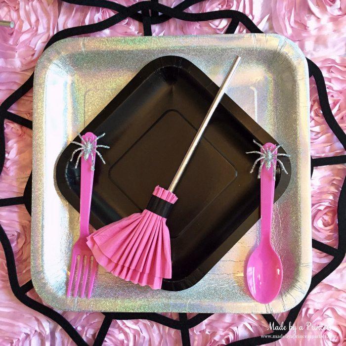 witch tea party broom napkin