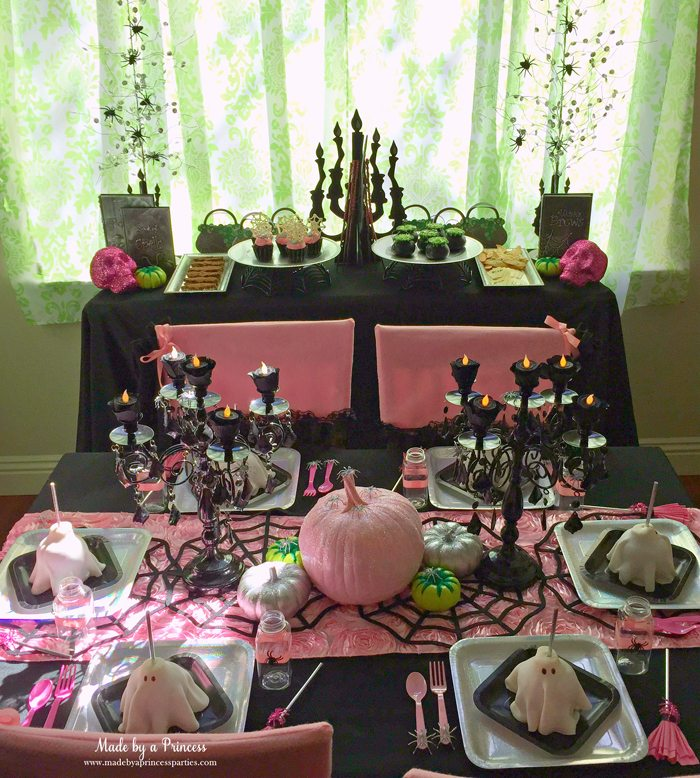 witch tea party early morning set up