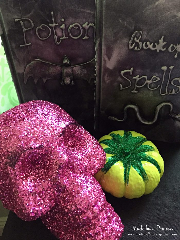 witch tea party glitter skull