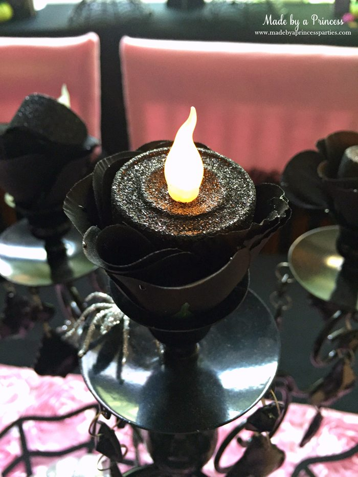 witch tea party rose candle