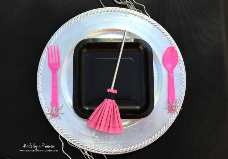 witches broom pink napkin place setting