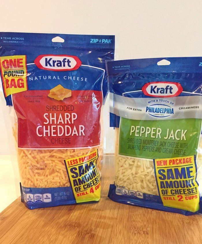 Use Kraft Sharp Cheddar and Kraft Pepper Jack in Christmas morning casserole