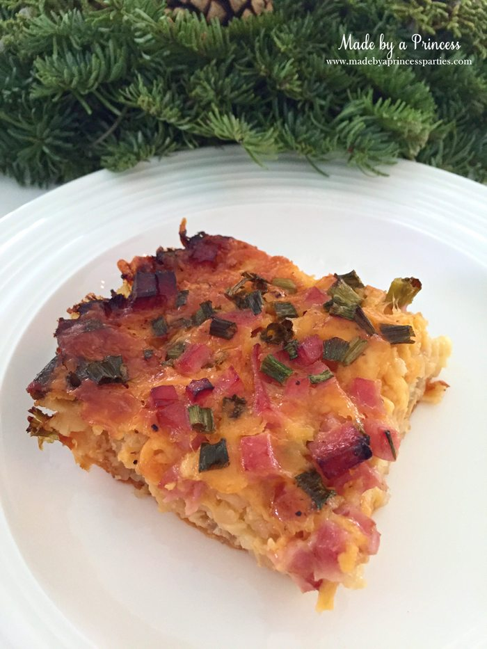 Christmas morning casserole is loaded with ham, cheese, and tater tots