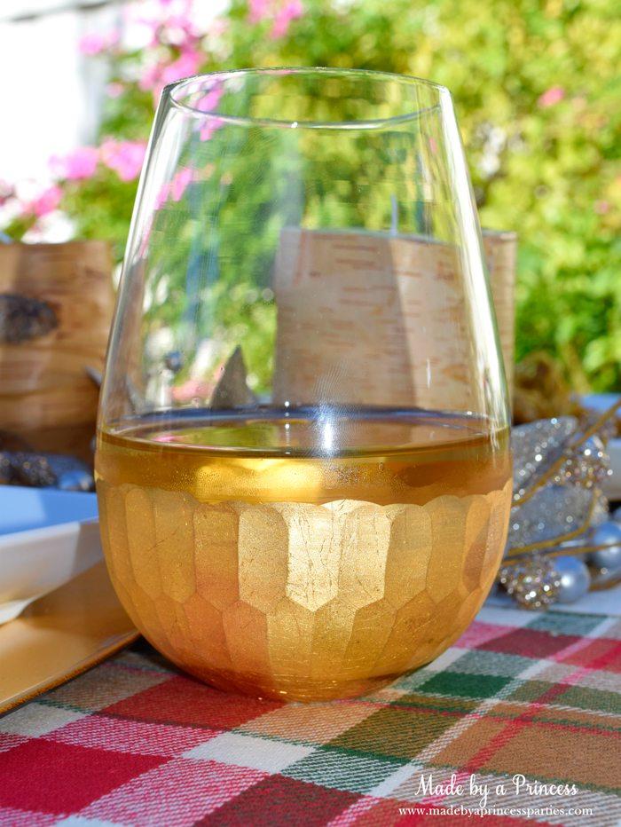 creamy pumpkin chicken pasta gold wine glass