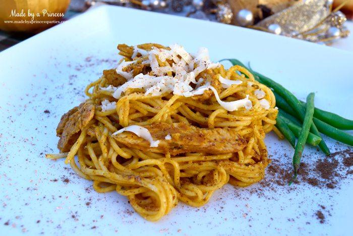 creamy pumpkin chicken pasta plated 2