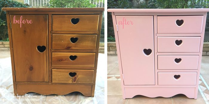 antique cabinet pink pearl makeover before and after