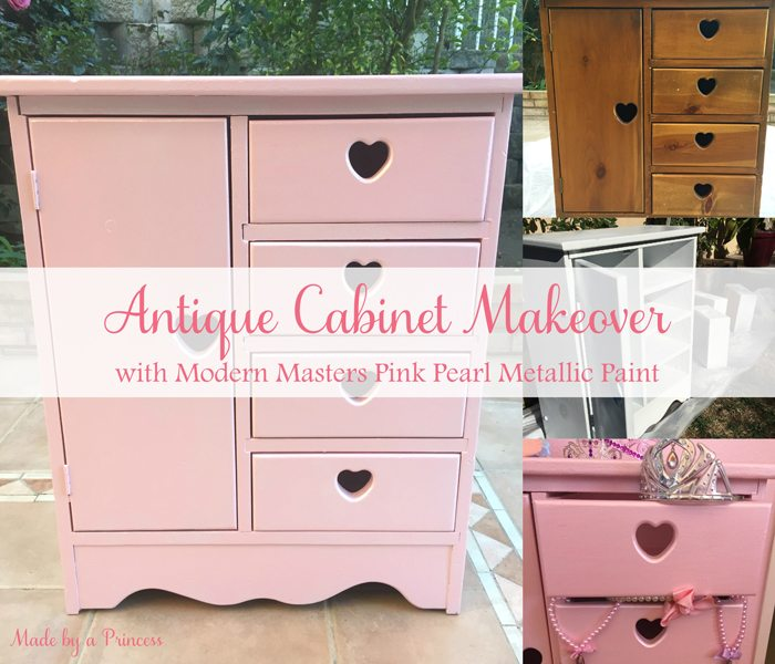 antique cabinet pink pearl makeover main
