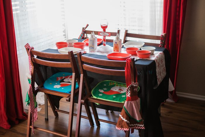 candy cane lane christmas party cookie decorating table set up