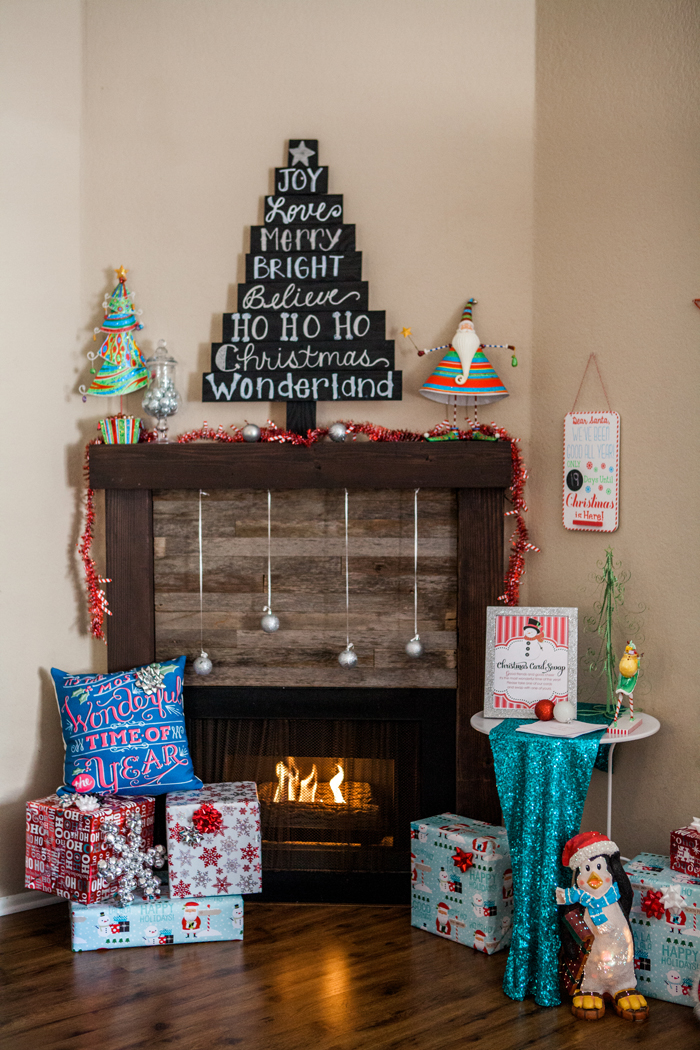 candy cane lane christmas party fire place