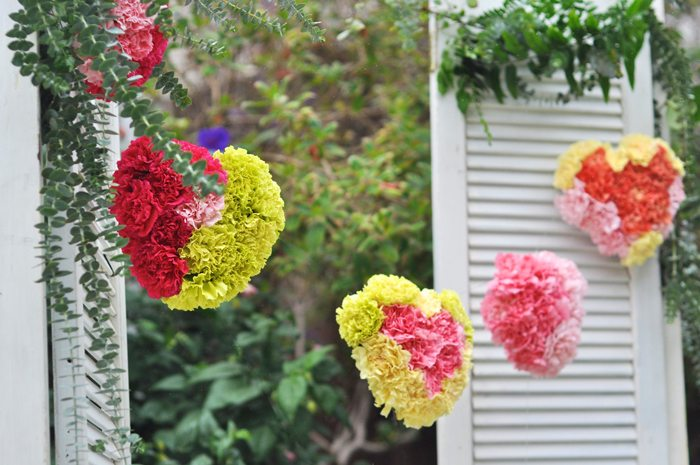 Valentines Day Garden Party floral heart garland