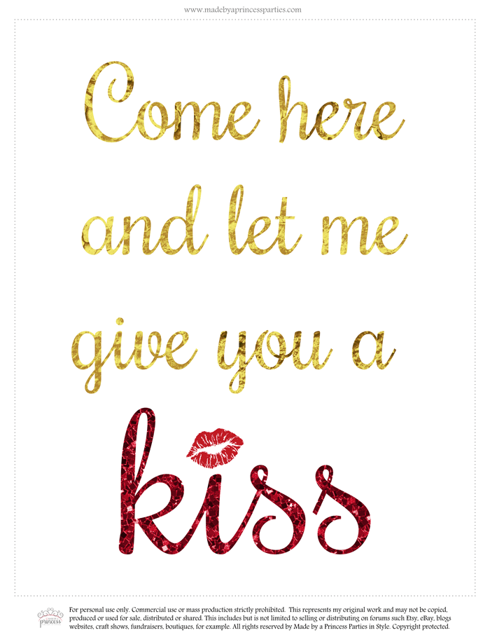 valentines day give me a kiss free printable image