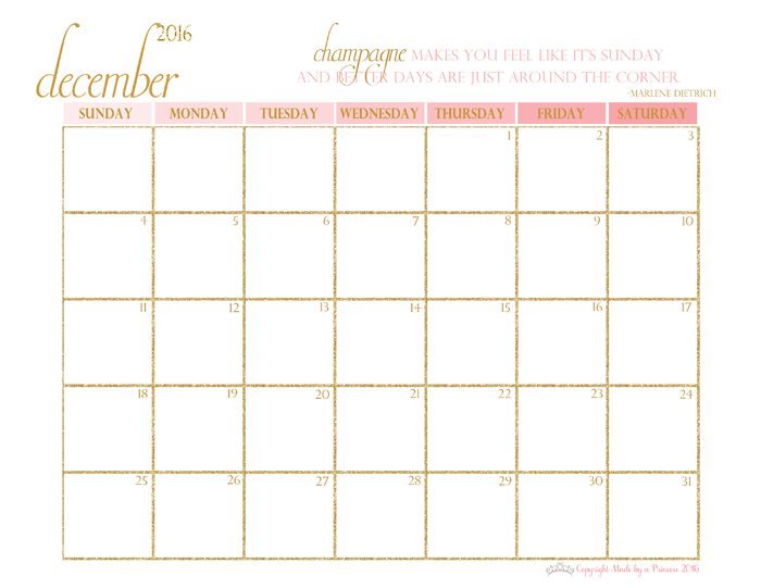 made by a princess free printable calendar 2016 december