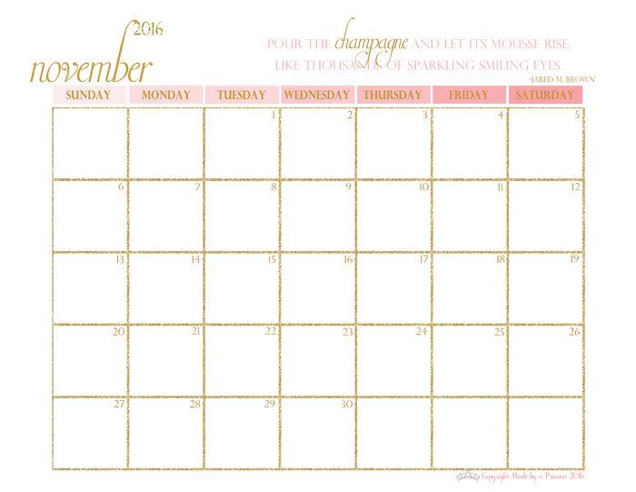 made by a princess free printable calendar 2016 november