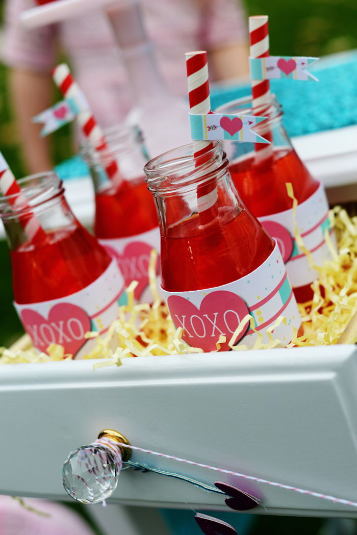 Creative Kids Valentine Party Ideas drinks with flags