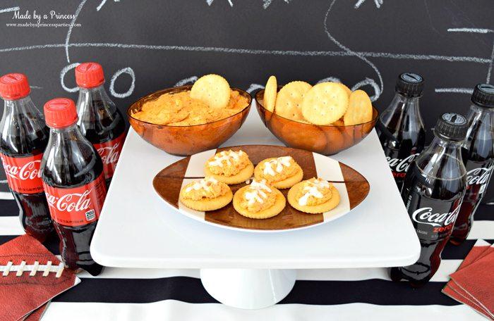 crock pot buffalo chicken dip on ritz crackers with coca cola 2
