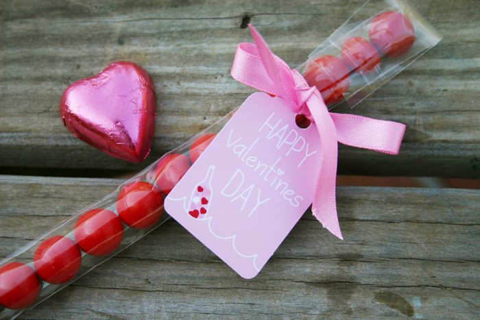 message in a bottle valentines party gumball favors