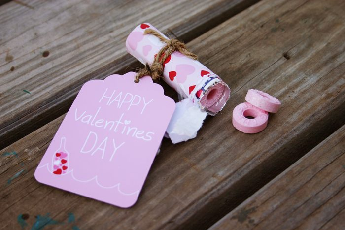 message in a bottle valentines party life saver favor