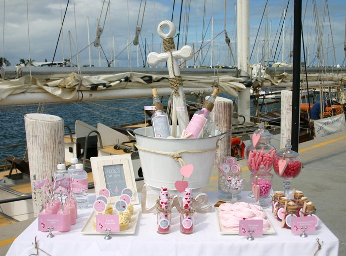 message in a bottle valentines party treat table 2