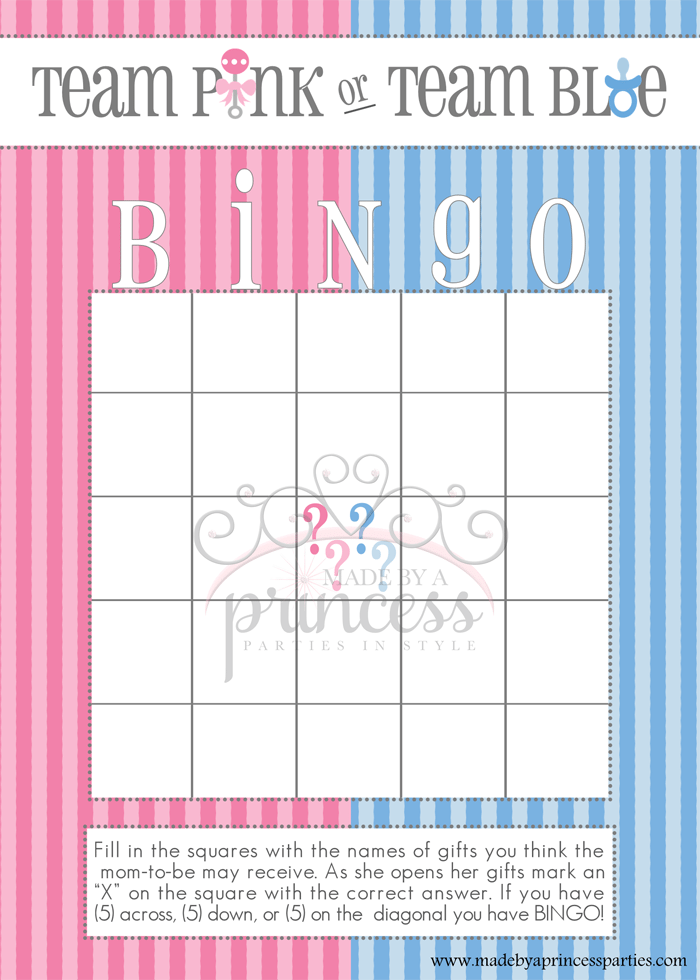 free gender reveal baby shower games from made by a princess bingo