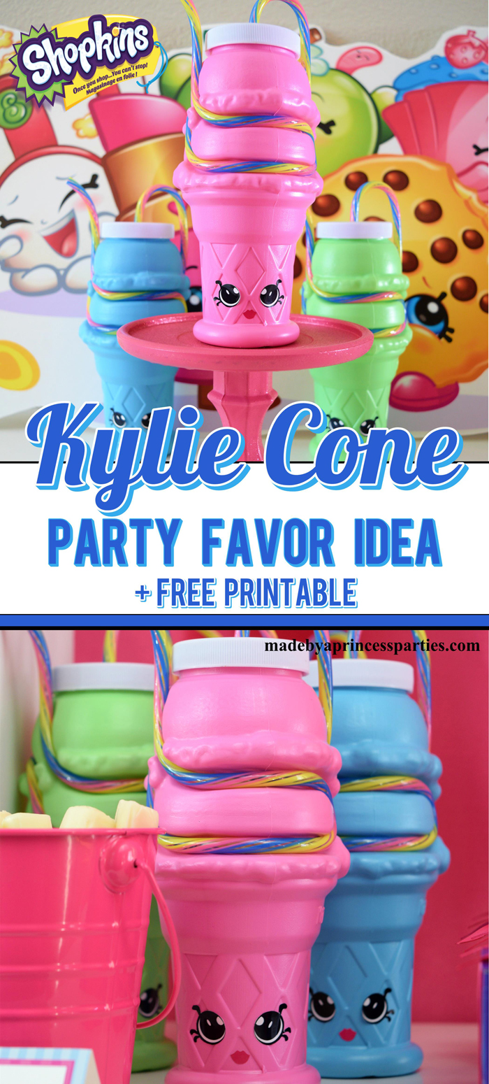 Ice cream sipper cups make the perfect Shopkins Kylie Cone Party Favor. Download the free stickers @madebyaprincess