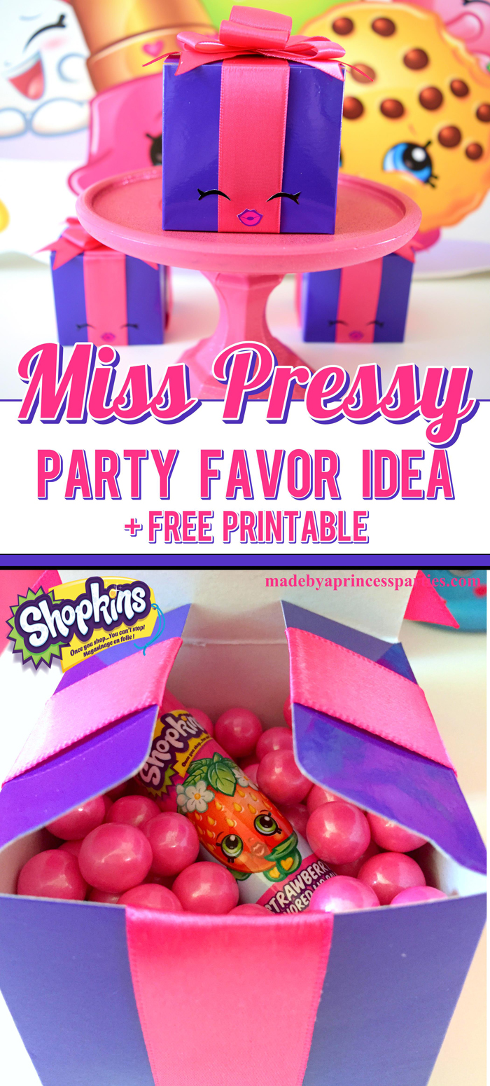 All you need to make the cutest Shopkins Miss Pressy Party Favor ever is a purple box and hot pink ribbon. Download the free stickers @madebyaprincess