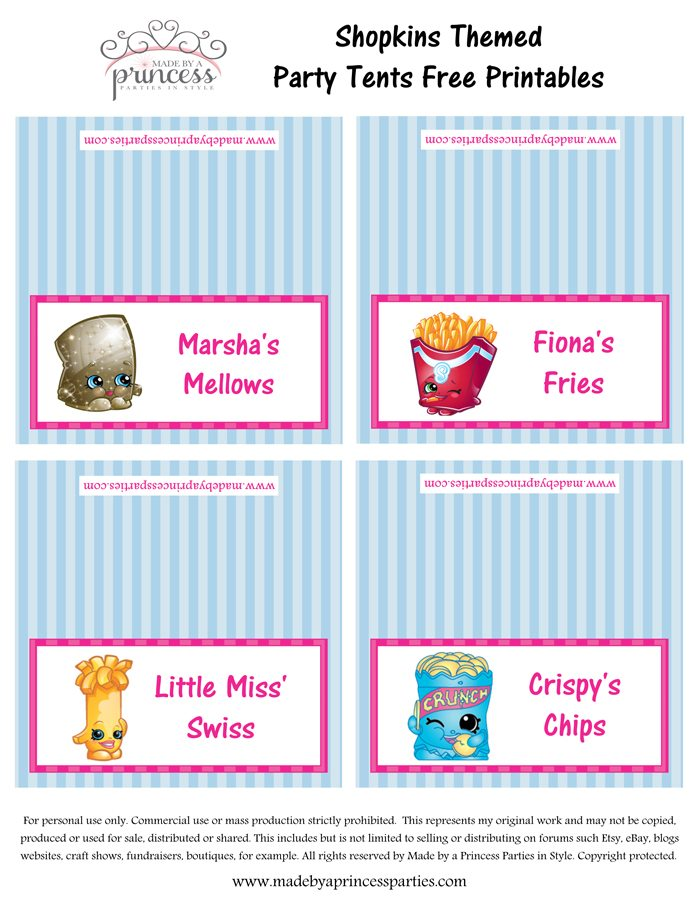 Shopkins Inspired Food Tents FREE Printables Set 3 Made by a Princess