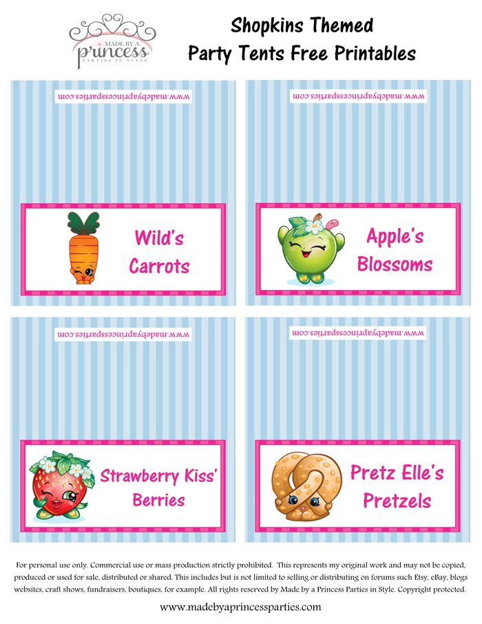 Shopkins Inspired Food Tents FREE Printables Set 9 Made by a Princess