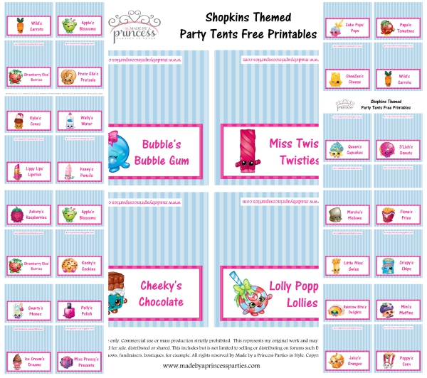 graphic relating to Printables Food named Shopkins Influenced Bash Foodstuff Designs Free of charge Printables - Produced via