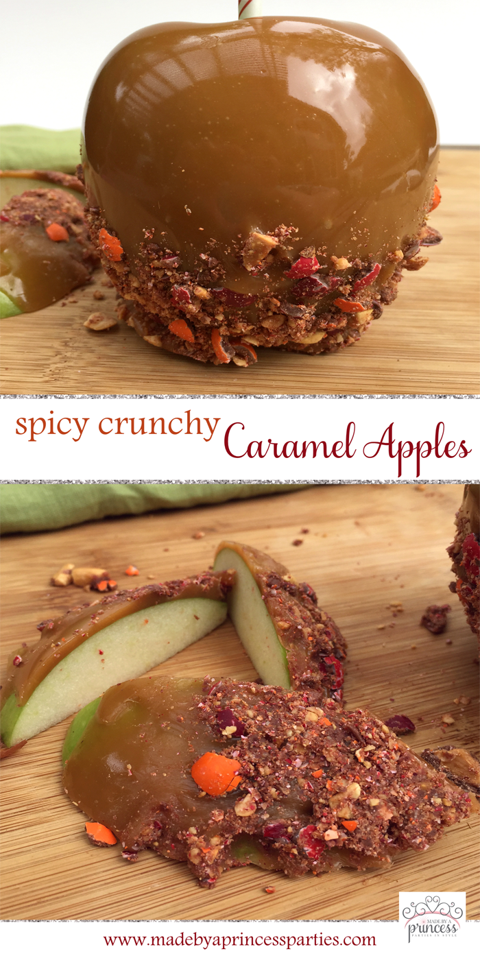 spicy crunchy caramel apple recipe pin