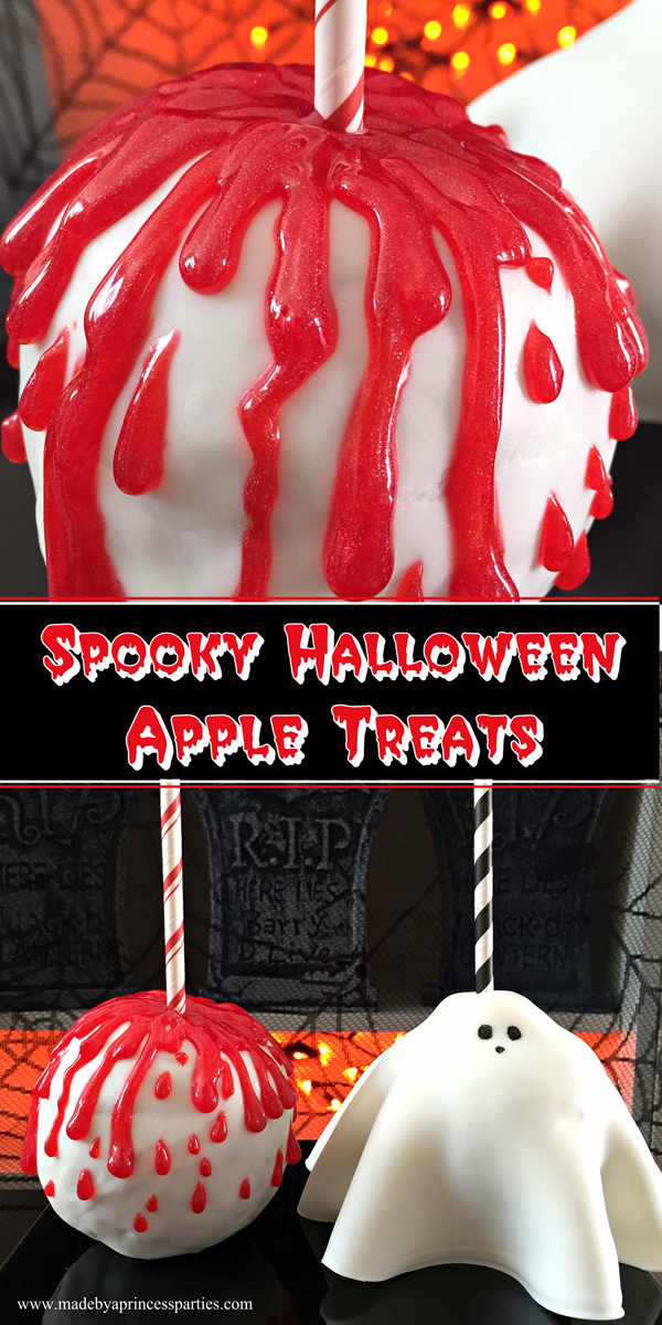 Looking for something fun to serve this Halloween? How about something easy and fun? These Yummy Spooky Halloween Apple Treats are the perfect Halloween party treats and don't require any cooking skills! @madebyaprincess
