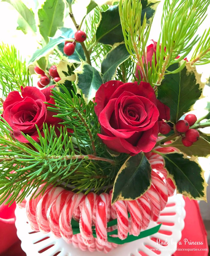 budget-friendly-holiday-mimosa-bar-party-red-roses-in-christmas-arrangement-in-candy-cane-vase