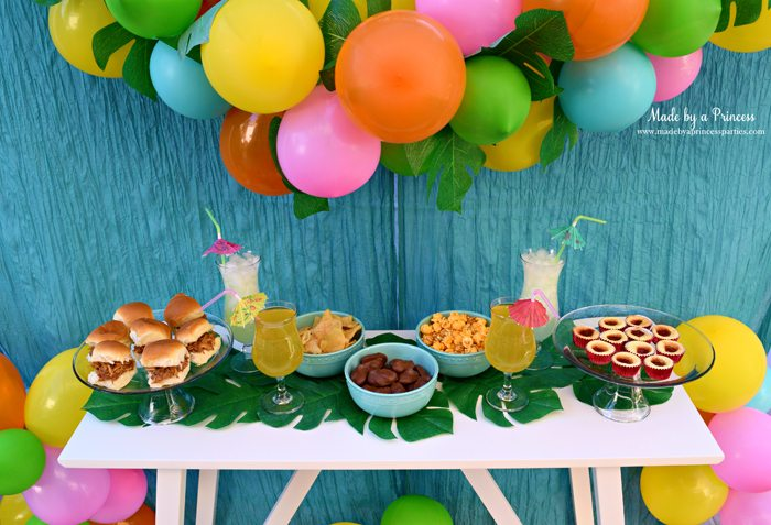 Disney Moana Movie Inspired Party Table With Food Drinks Balloon Garland