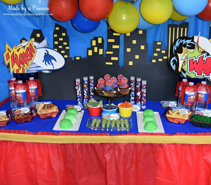 Superhero-Inspired-Party-Food-Ideas-Free-Printables-party-table