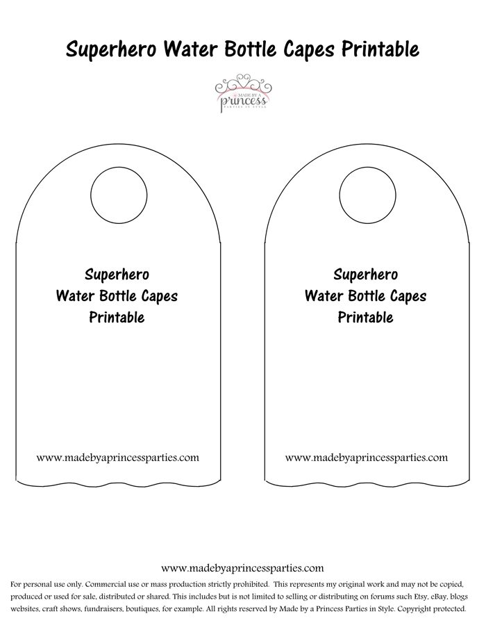 image relating to Superhero Cape Template Printable known as Superhero Drinking water Bottle Cape Bash Concept Absolutely free Printable
