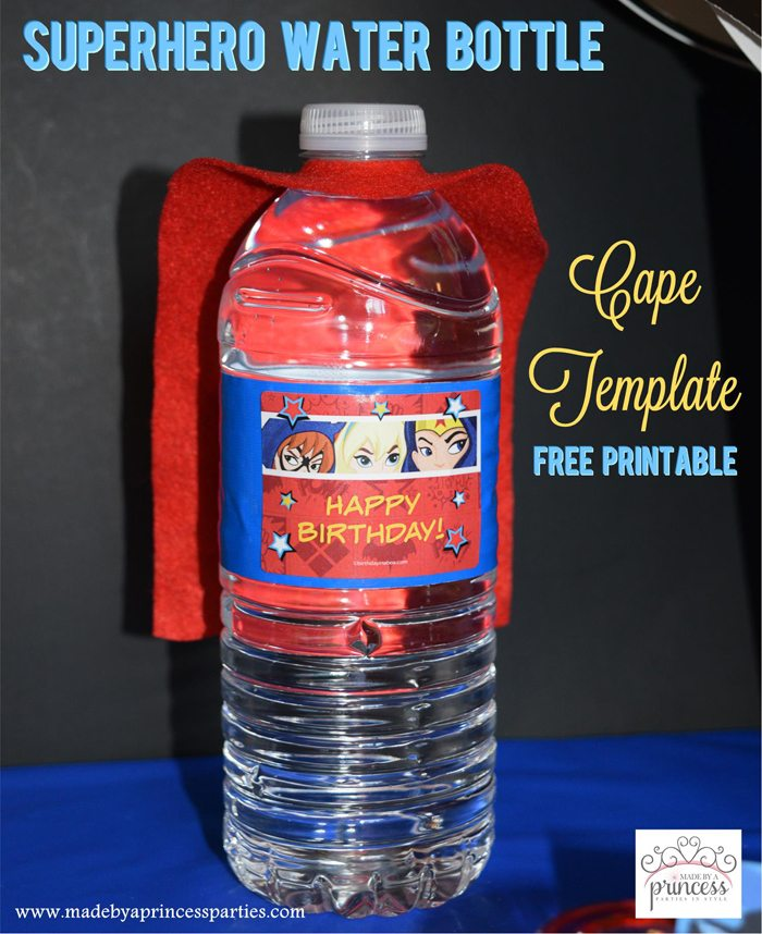 image about Superhero Cape Template Printable named Superhero Drinking water Bottle Cape Social gathering Strategy Cost-free Printable