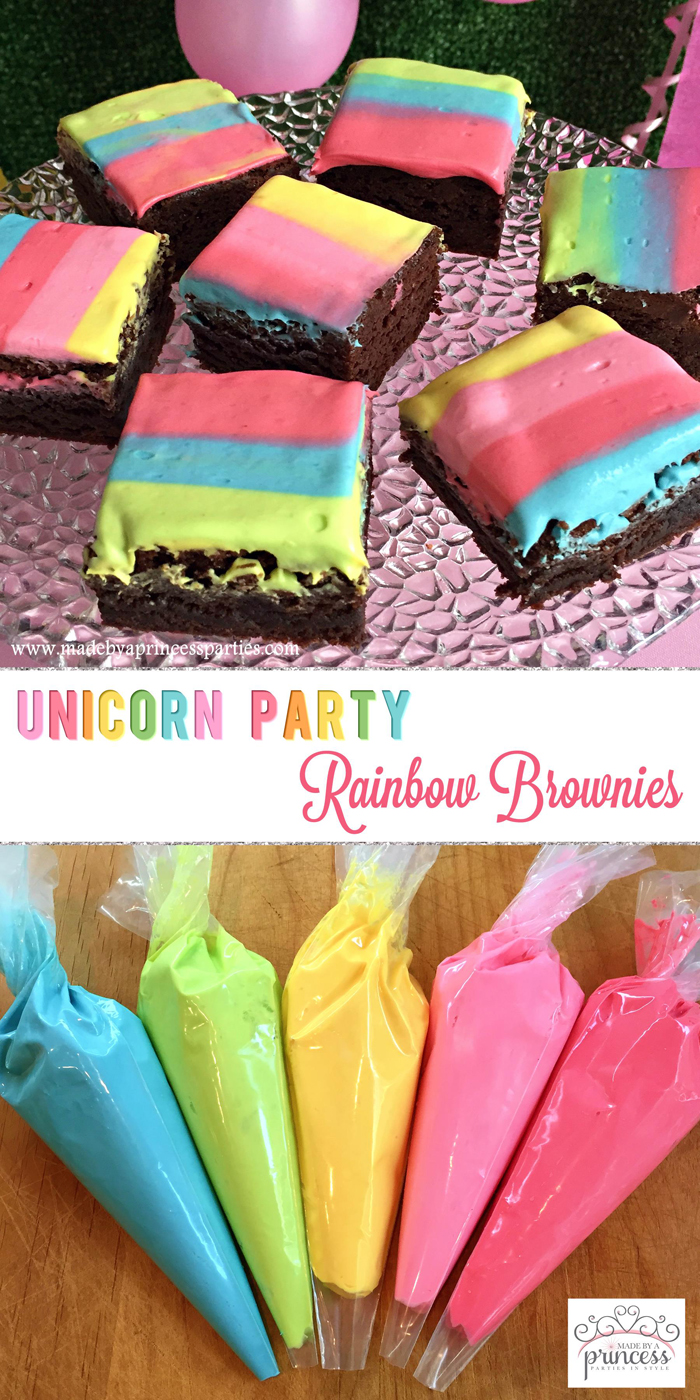 Unicorn Party Rainbow Brownies Recipe are bright and colorful and so yummy!