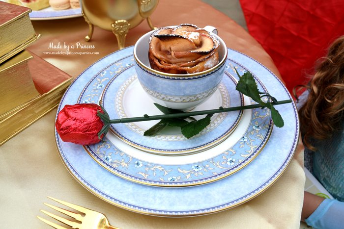 BEAUTY AND THE BEAST Themed Tea Party for Two. Serve delicious apples that look like a rose