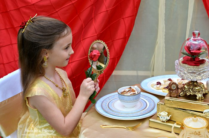 BEAUTY AND THE BEAST Themed Tea Party for Two. Create a pretty enchanted mirror simply by spray painting a dollar store mirror gold