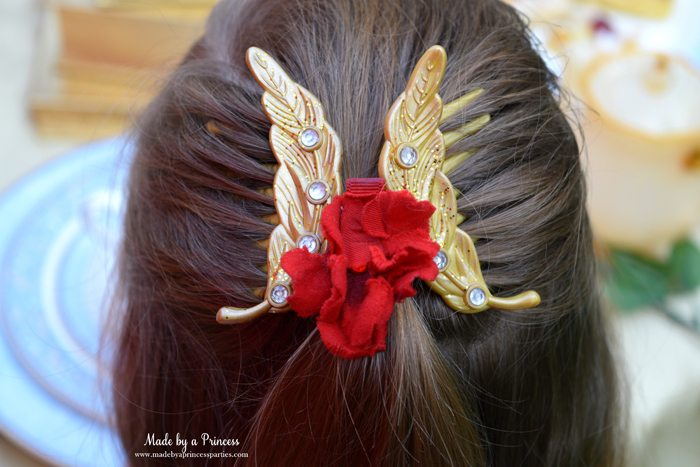 BEAUTY AND THE BEAST Themed Tea Party for Two...Belle with golden feather hair combs